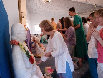 Kriya yoga masters in white marble dedication ceremony at Ananda Village.
