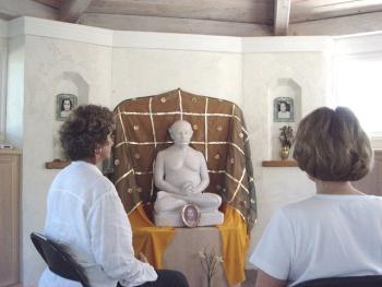 Lahiri Mandir shrine with white marble statue of great yoga master avatar Lahiri Mahasaya