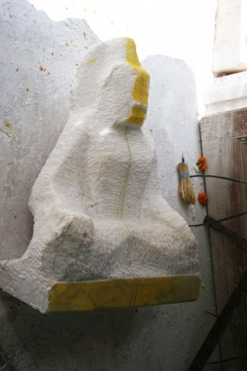 Babaji Krishna statue of self-realization masters being carved out of marble
