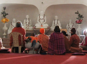 First statues of the masters of self-realization line of gurus, babaji krishna, sri ukteswar, lahiri mahasaya, and paramhansa yogananda.
